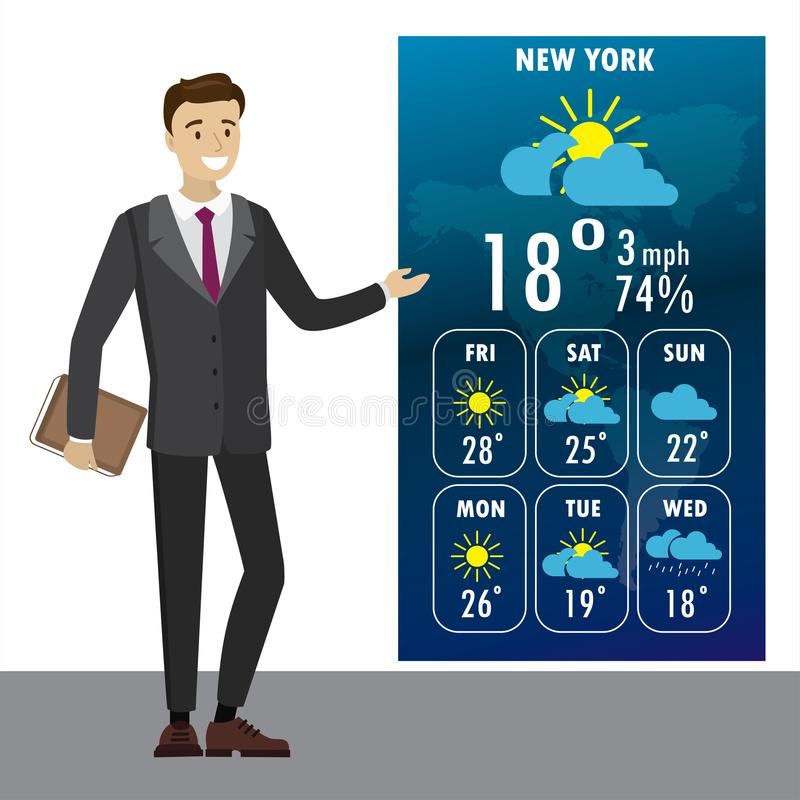Young male on TV tells a weather forecast vector illustration