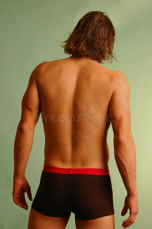 Young male in underwear from back royalty free stock image