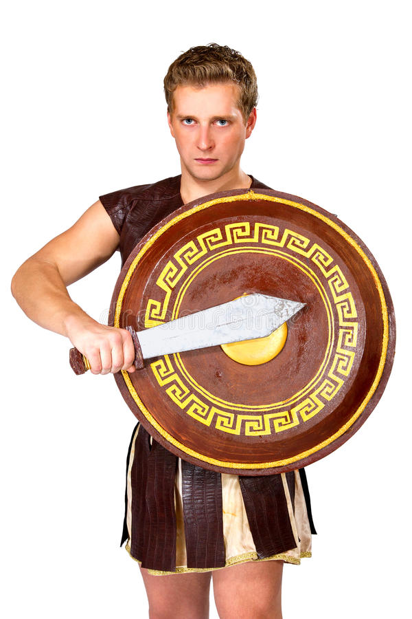 Young male warrior with a shield royalty free stock photo