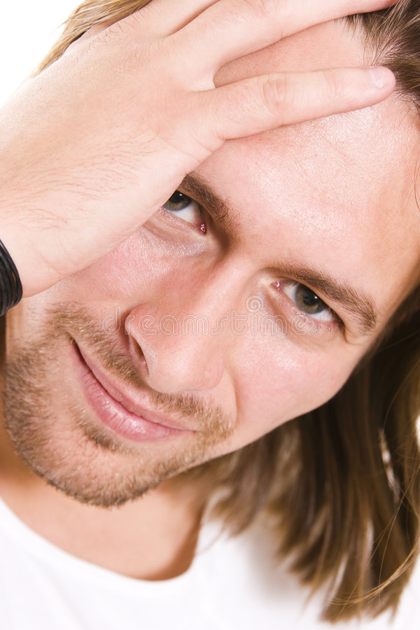 Young man. Young handsome man having headache stock images