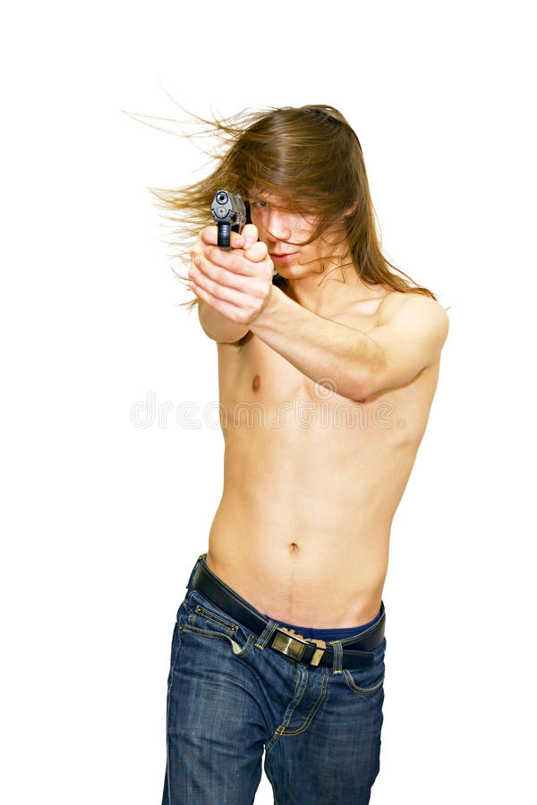Download A young man aiming a gun stock photo. Image of muscles - 22099386