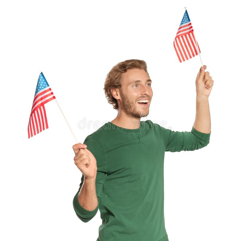 Young man with American flags stock images