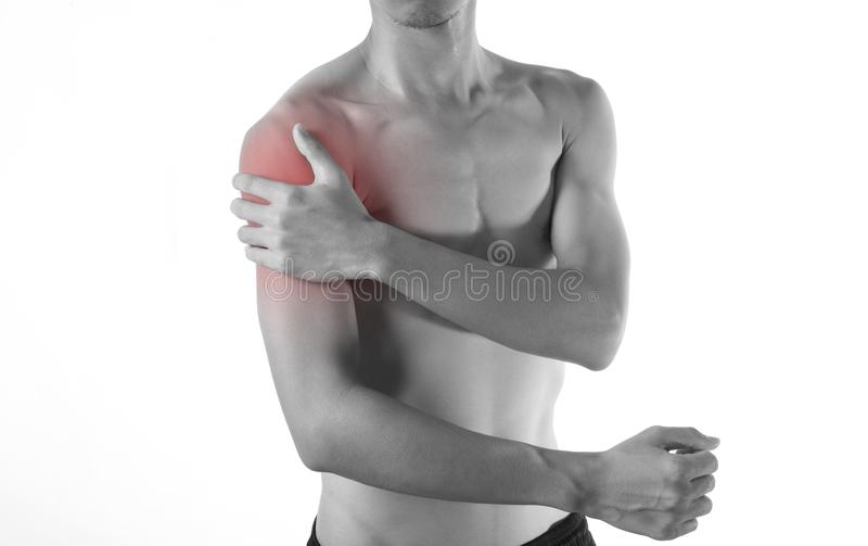Young man arm and shoulder joint pain on white royalty free stock image