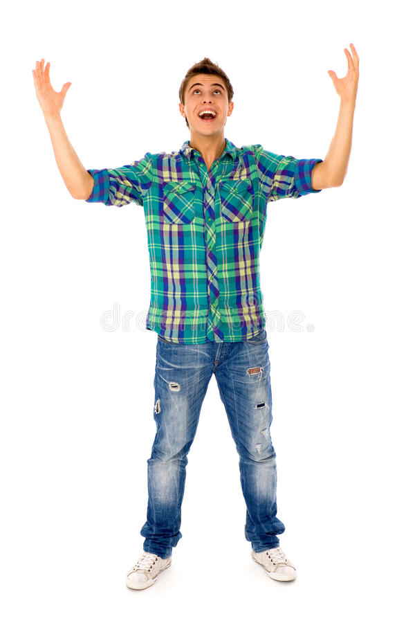Download Young man with arms raised stock image. Image of casual - 16608703