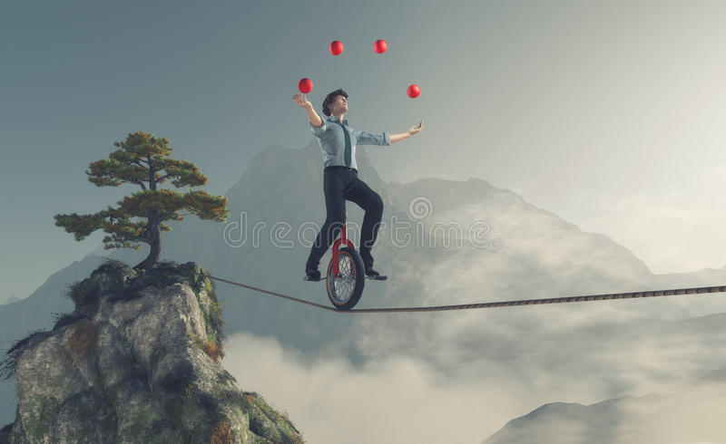 Young man as juggler. Juggler is balancing on rope with a bike between two mountains. This is a 3d render illustration royalty free illustration
