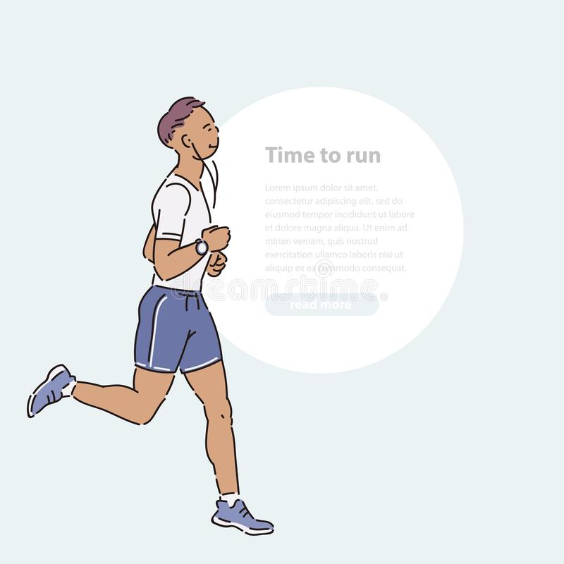 Young man athlete runs with headphones summer time vector line art flat illustration banner and round area for text. Young man athlete runs with headphones stock illustration