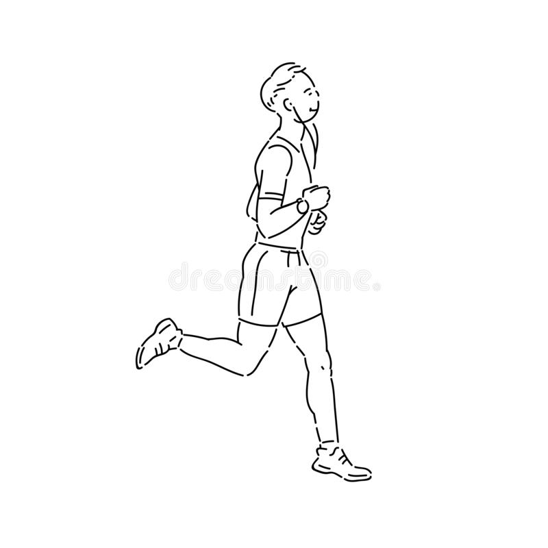 Young man athlete runs with headphones vector line art flat black white sketch isolated illustration. stock illustration