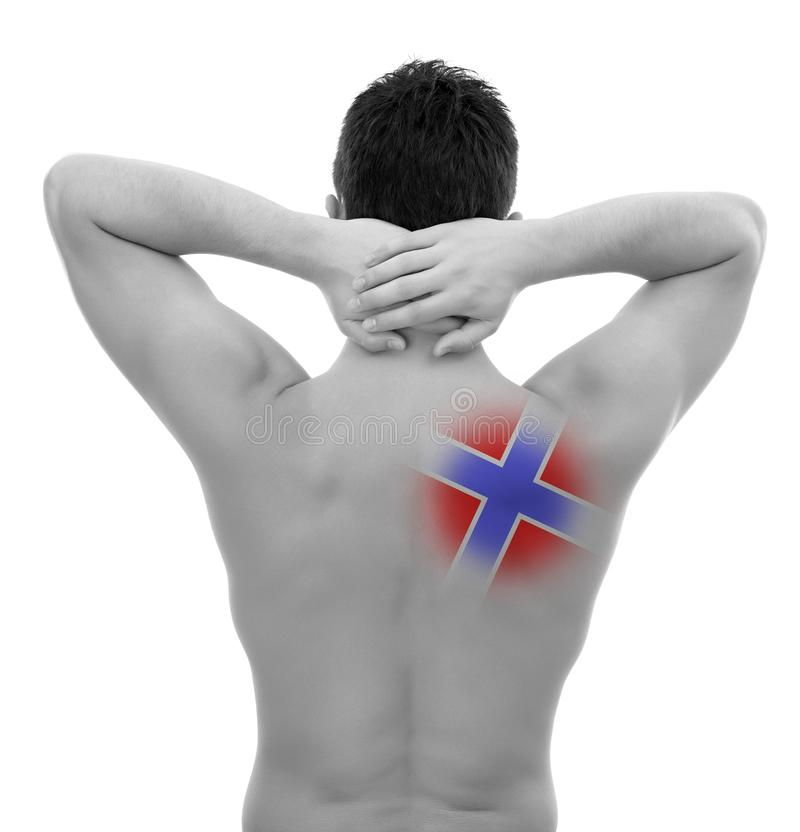 Young man with back pain stock photography