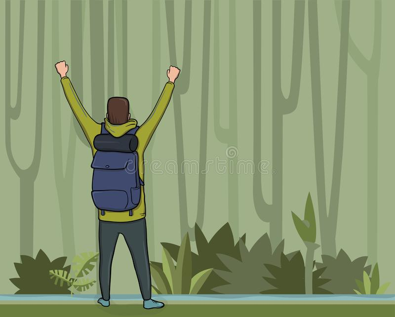 A young man, back view of backpacker with raised hands in the jungle forest. Hiker, Explorer, mountaineer. vector illustration