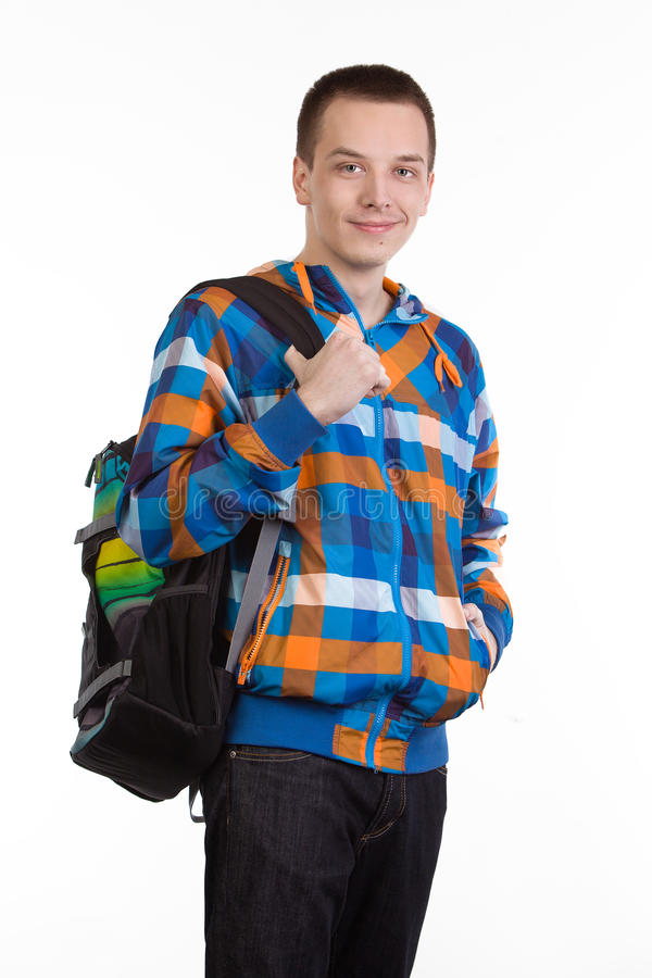 Young man with backpack royalty free stock photos