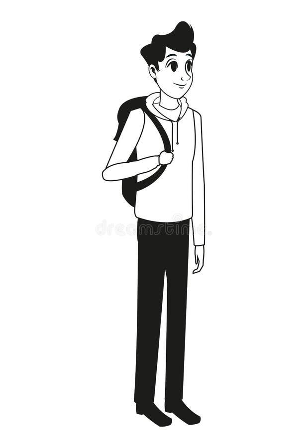 Young man bag stylish outline vector illustration