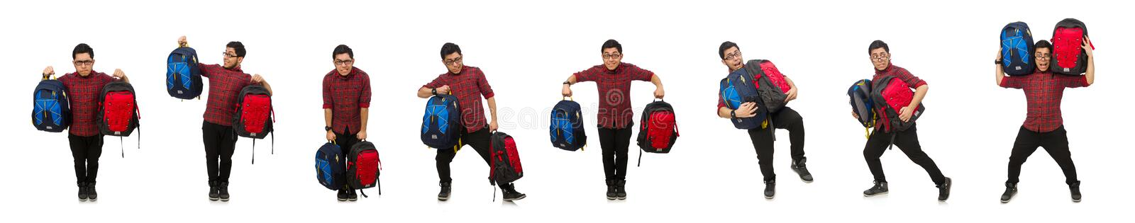 Young man with bags isolated on white stock photos