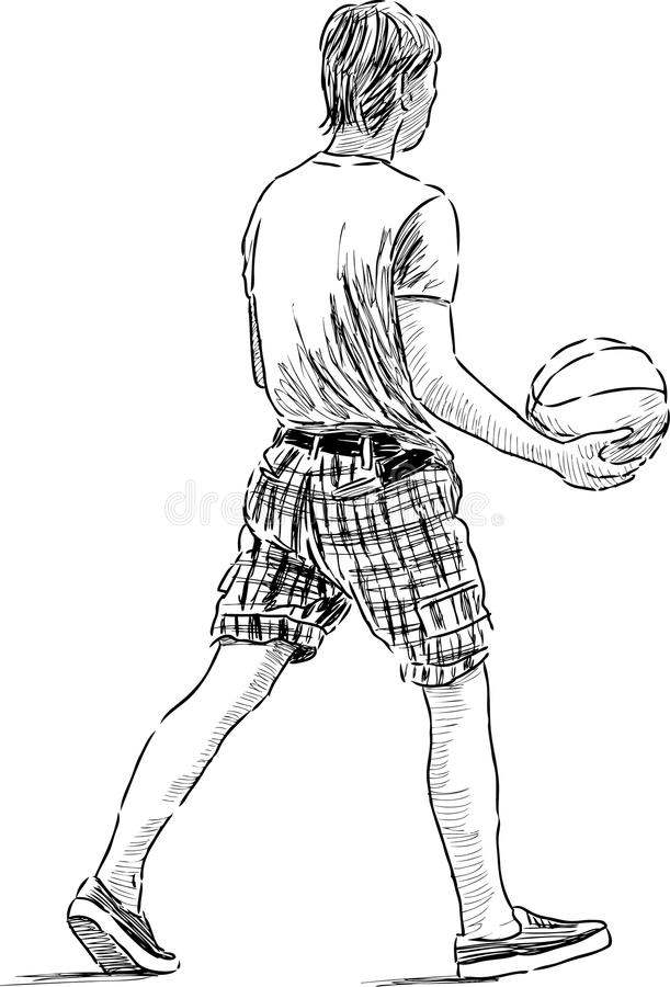 Young man with the ball. Vector drawing of the teenager walking with the ball stock illustration