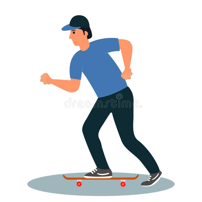 A young man in a baseball cap rides a skateboard. City citizen character.Vector illustration on white background in cartoon style. A young man in a baseball cap royalty free illustration