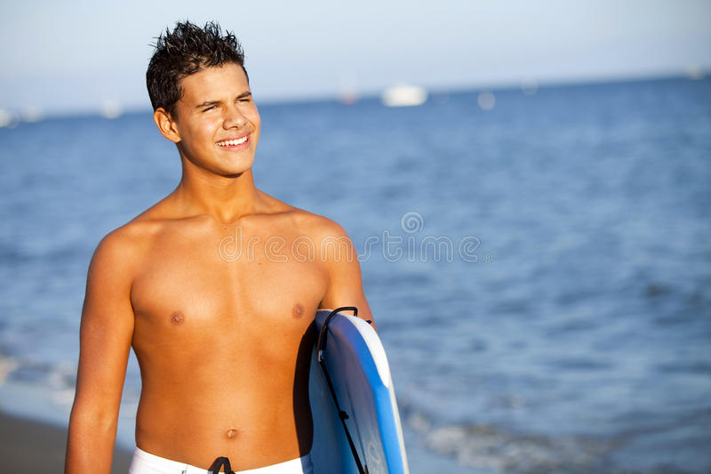 Young Man Beach Stock Photo