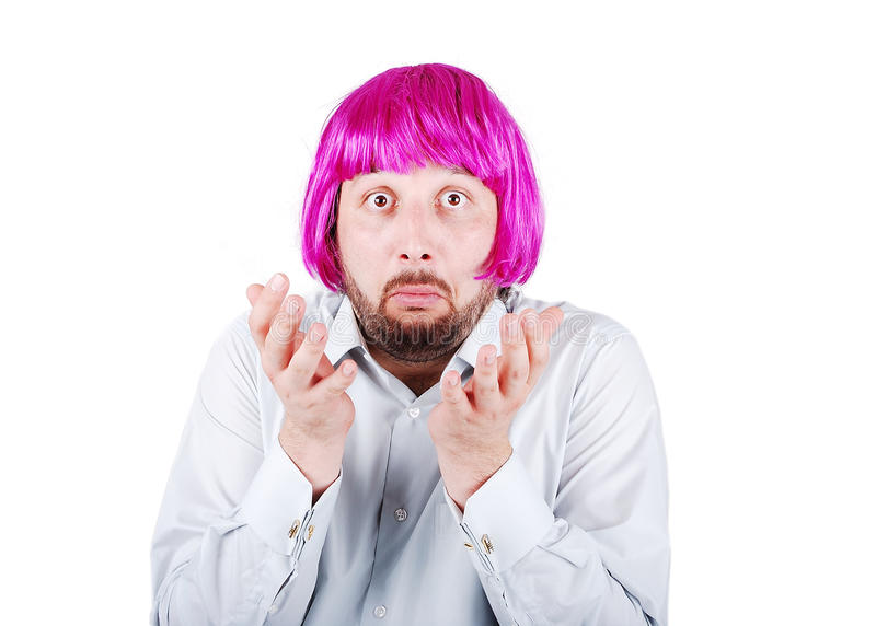 Download Young Man With Beard And Pink Hair Stock Image - Image: 10308503
