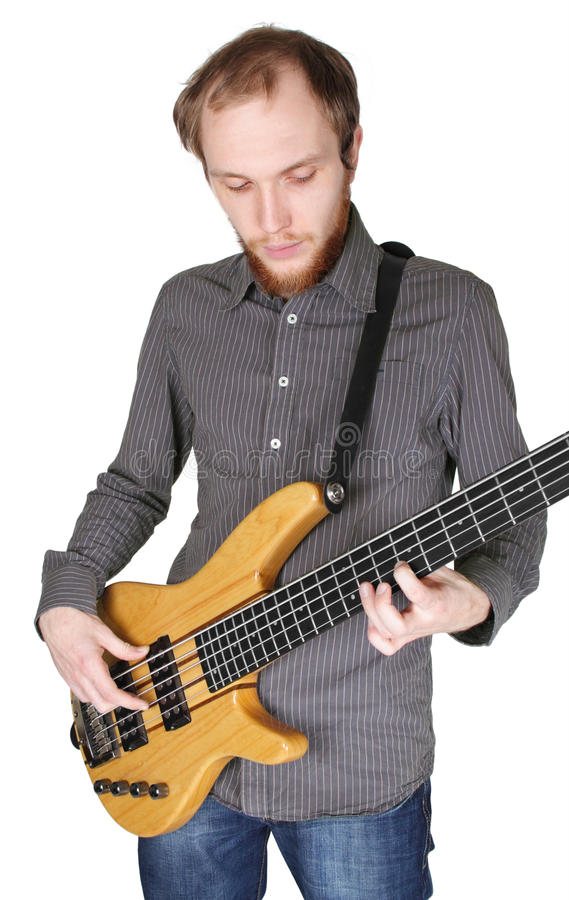 Download Young Man With Beard Playing Bass Guitar Stock Image - Image: 17105101
