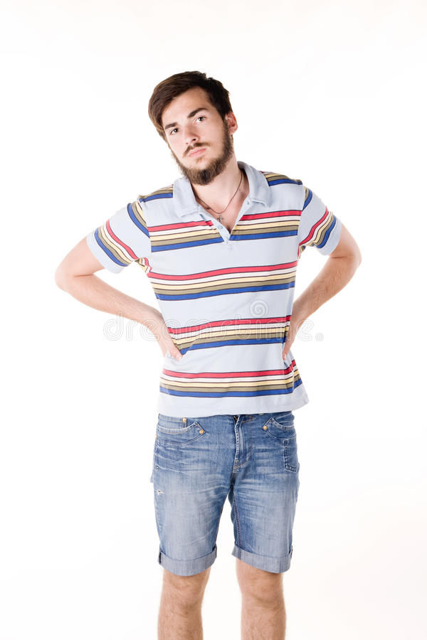 Download Young Man With A Beard, Posing In A Studio Stock Image - Image: 25205313