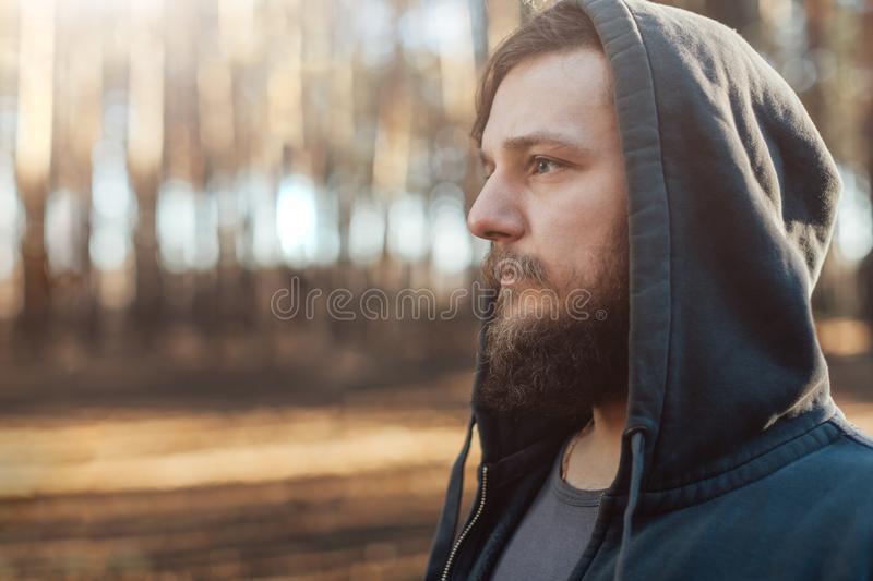A young man with a beard walks in a pine forest. Portrait of a brutal bearded man in a hood royalty free stock photo
