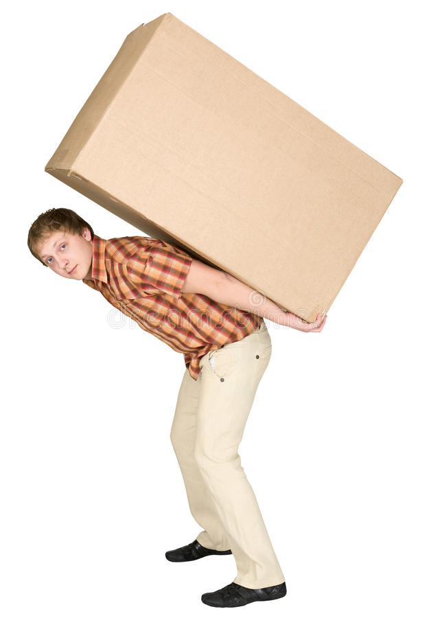 Download Young Man Bears The Big Box On A Back Stock Image - Image: 9563347