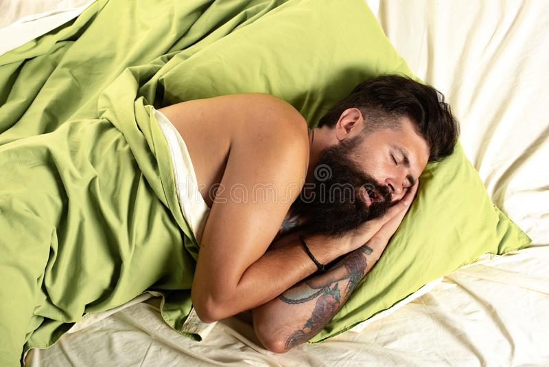 Young man in bed - trying to sleep. Handsome man sleeps in the bedroom - lying on bed. Need some rest. royalty free stock photo