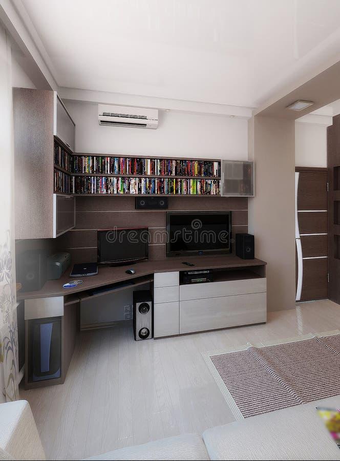 Download Young Man Bedroom, Interior Design, Render 3D Stock Illustration -  Image: 62492326