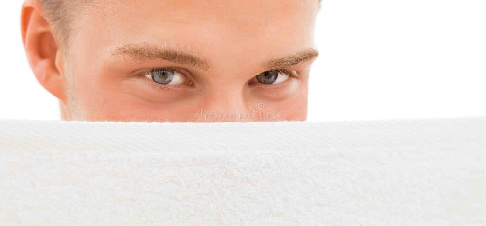 Download Young Man Behind White Towel Stock Image - Image: 11255207