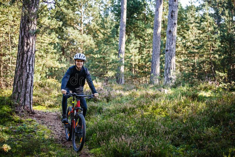 Young man biking in forest. Healthy lifestyle - happy man riding bicycles stock image