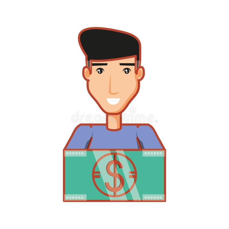 Young man with bill dollar money. Vector illustration design royalty free illustration