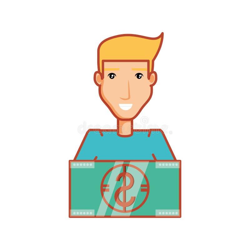 Young man with bill dollar money. Vector illustration design stock illustration