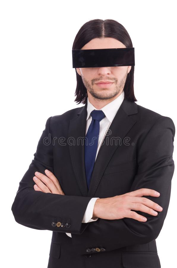 Young man with black face mask on white royalty free stock images
