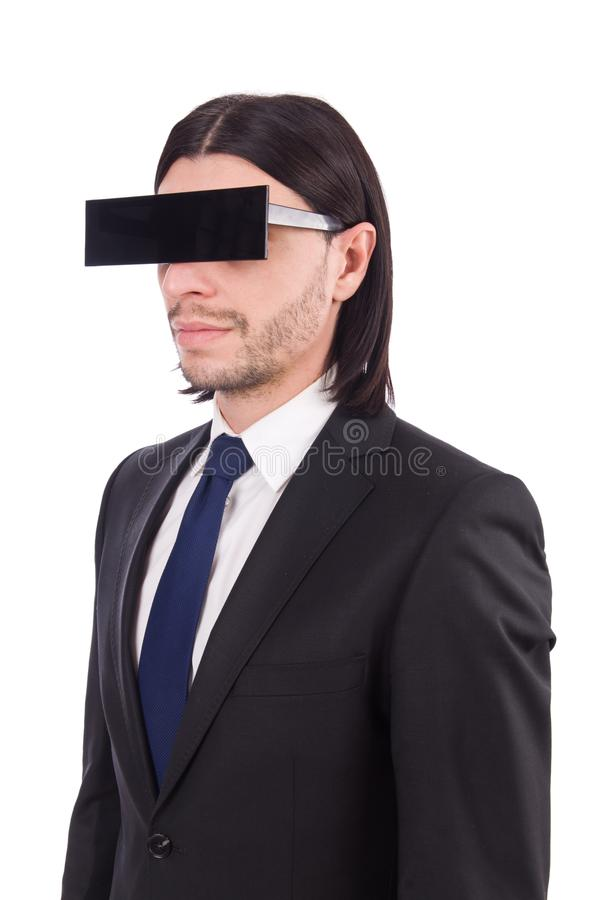 Young man with black face mask on white royalty free stock photos