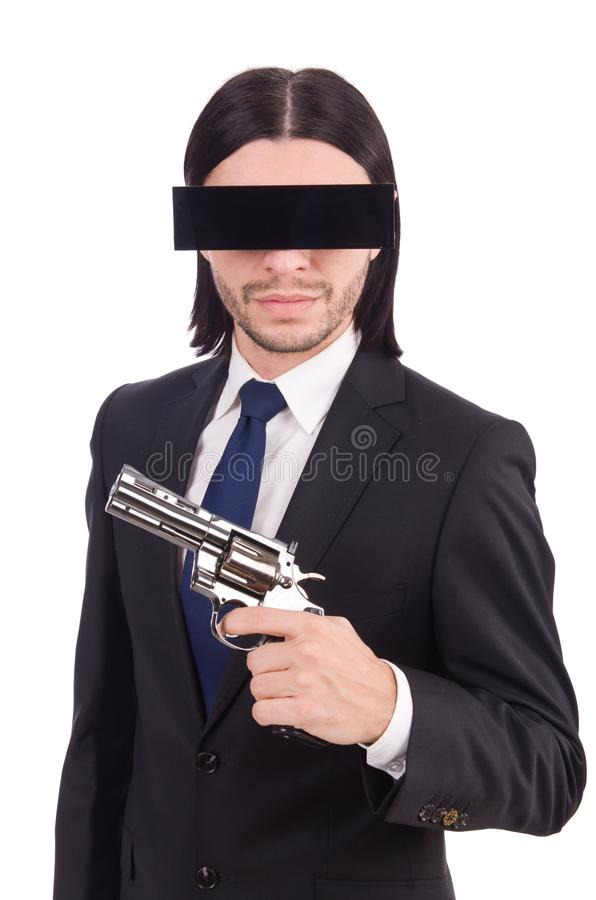 Young man with black face mask on white royalty free stock image