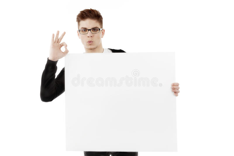 Young Man With A Blank Baner Stock Image