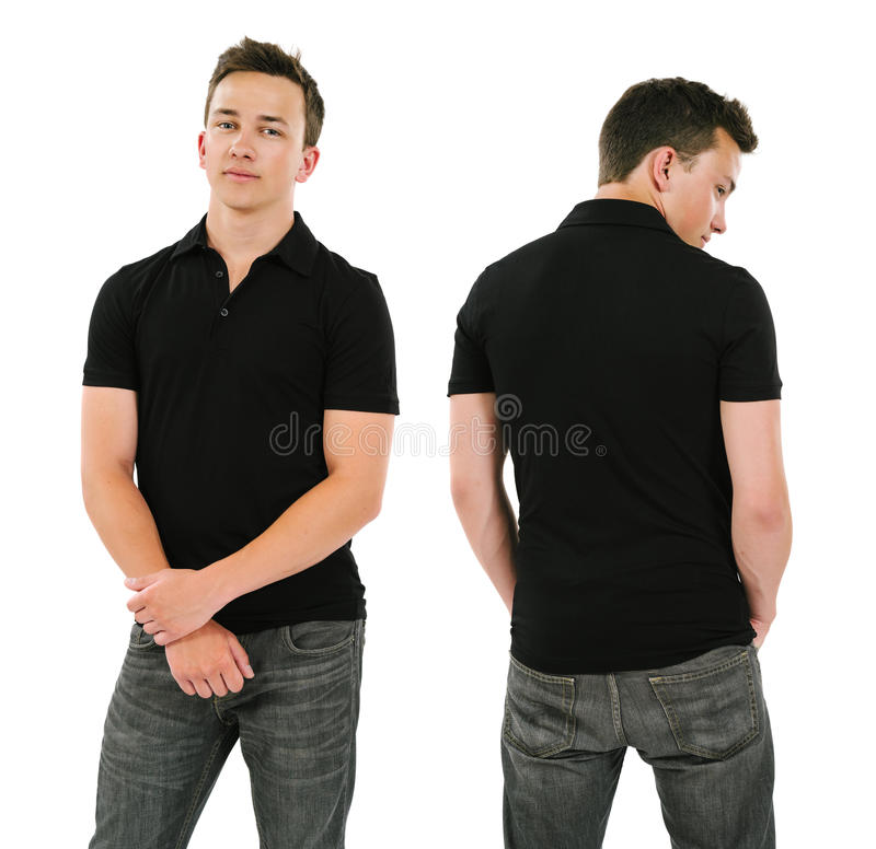 Young man with blank black polo shirt. Photo of a young male posing with a blank black polo shirt. Front and back views ready for your artwork or designs stock photography