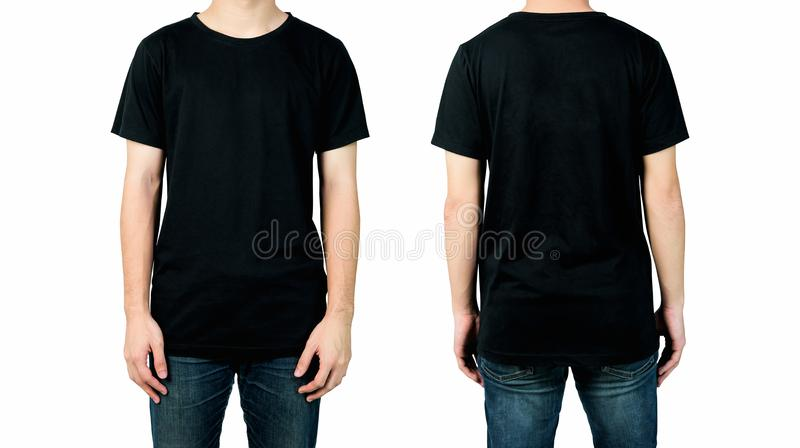 Young man in blank black t-shirt isolated on white background, Front and back views of mock up for design print. stock photo