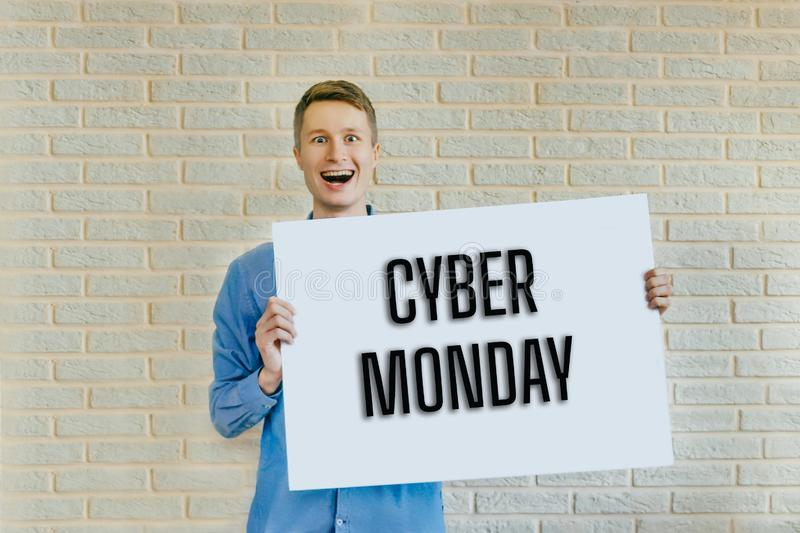 Young man with blank Cyber Monday royalty free stock images