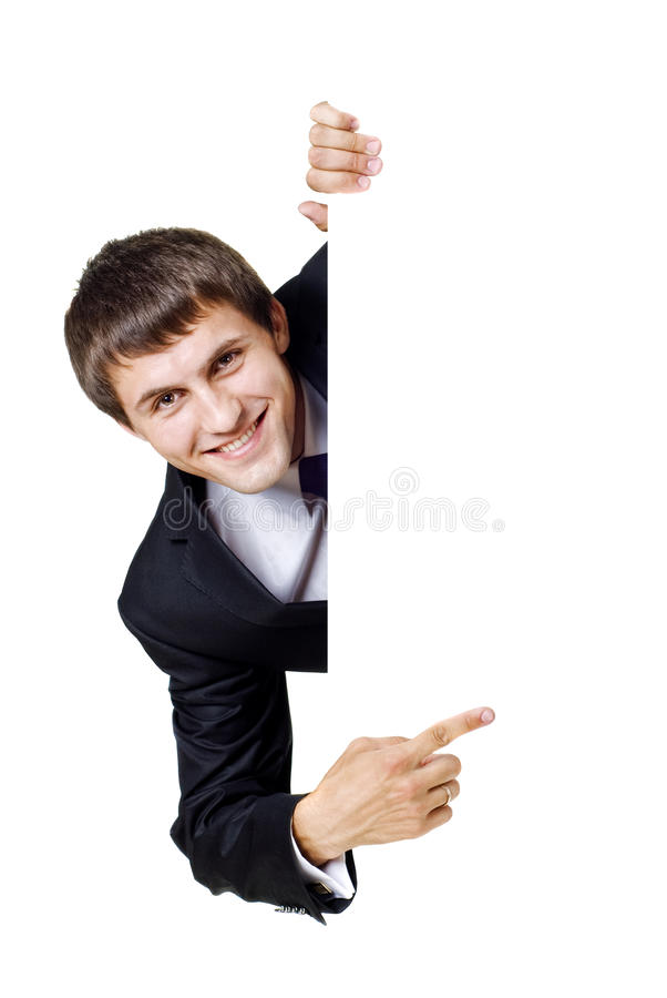 Young man with blank sign stock photography