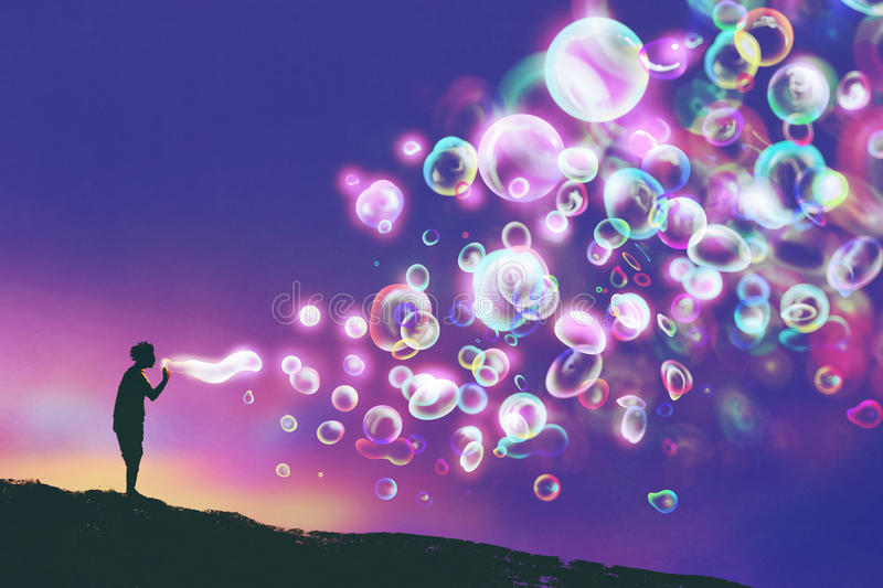 Young man blowing glowing soap bubbles against evening sky vector illustration