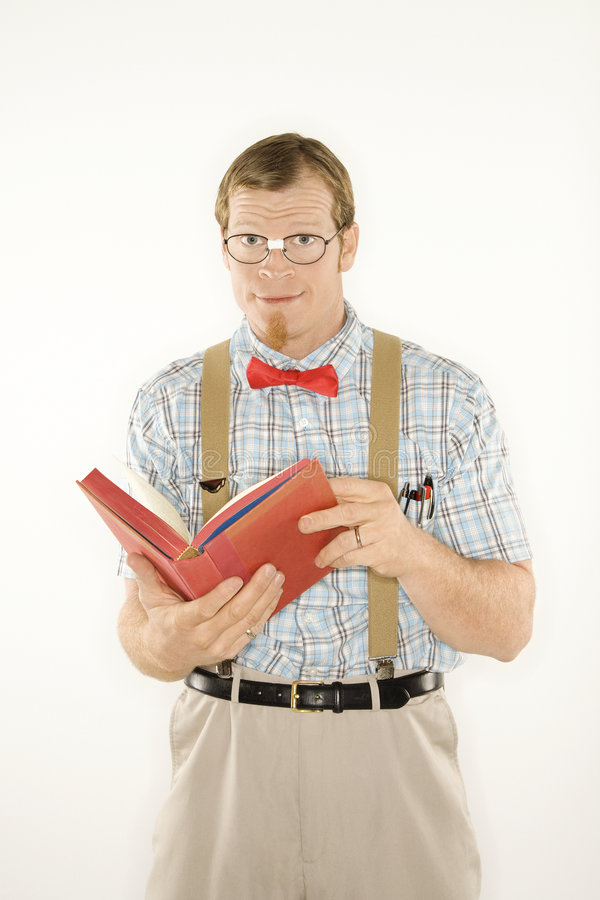 Young man with book open. stock photo