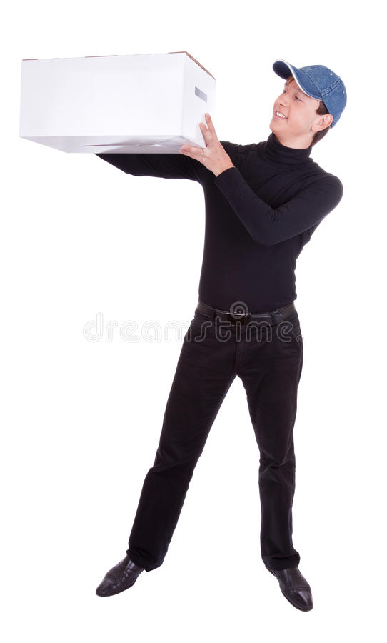 Young Man With Box Stock Image