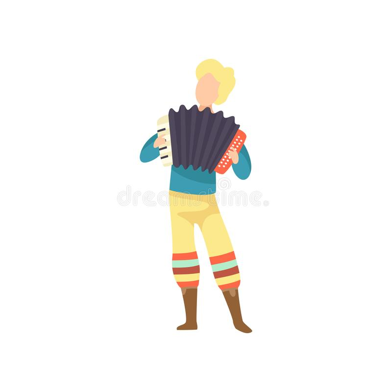 Young Man in Bright Costume Playing Accordion at Folklore Party, Festa Junina Brazil June Festival Vector Illustration. On White Background vector illustration