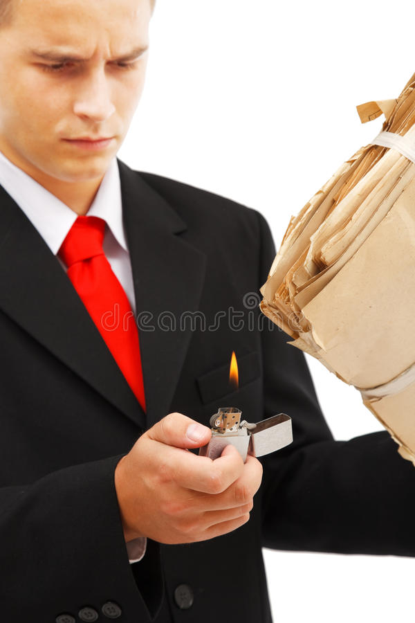 Download Young Man Burning File Folder Stock Photo - Image: 15965266