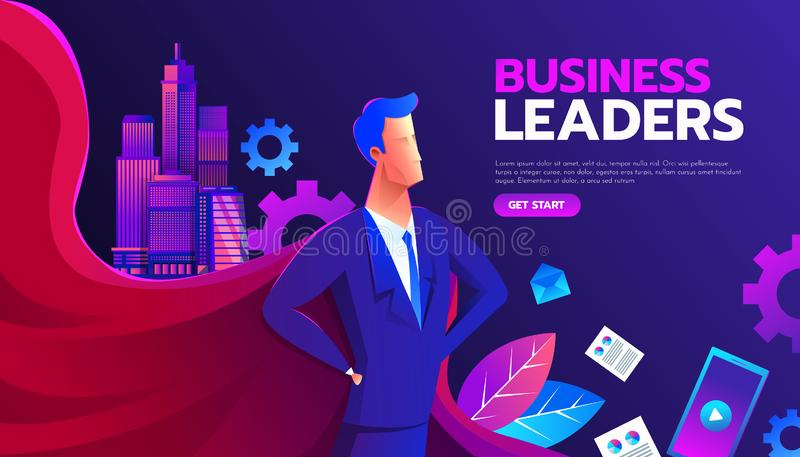 Young man in a business suit and red cape superhero standing in a confident pose with his arms on wrist. Business vector illustration