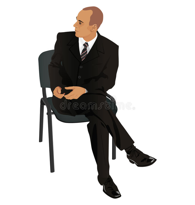 Young man on business suit sitting in office chair isolated on w stock photo