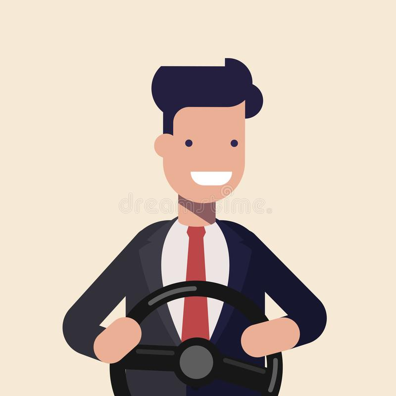 Young man or businessman holding black steering wheel. Concept illustration of a novice driver. Driving instruction by royalty free illustration