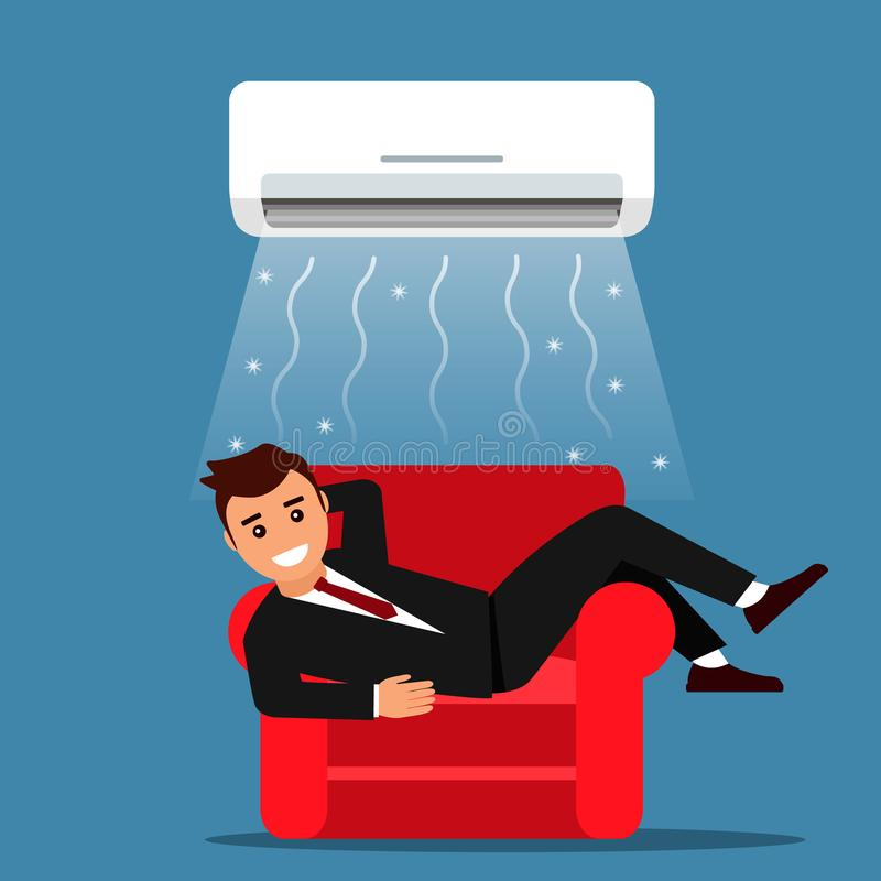 Young man businessman resting at home or in the office on the sofa with air conditioning. Air cooling and climate control concept. Vector graphics royalty free illustration