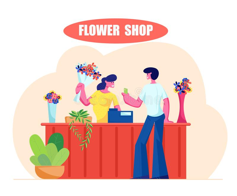 Young Man Buying Bouquet in Flower Shop. Saleswoman Giving Blossoms to Customer Visiting Floristic Store. For Choosing and Buying Present, Florist Profession vector illustration