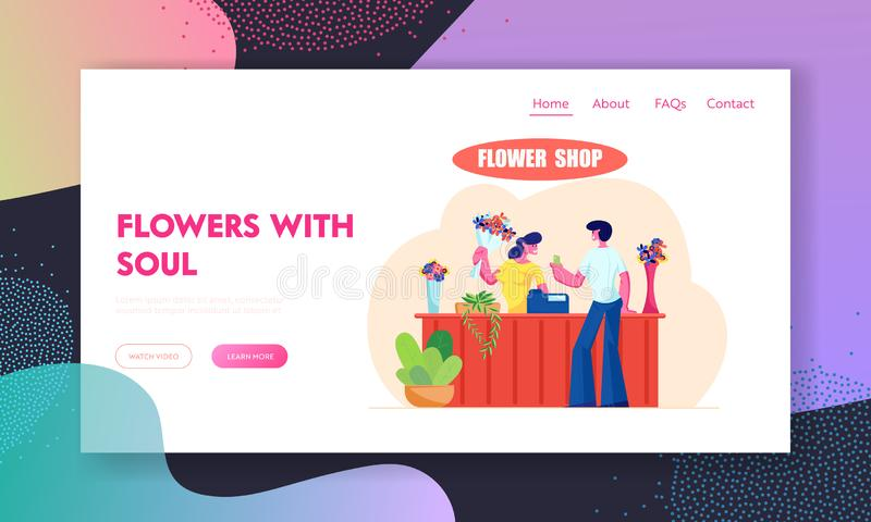 Young Man Buying Bouquet in Flower Shop Website Landing Page, Saleswoman Giving Blossoms to Customer Visiting Floristic Store. Florist Profession, Web Page vector illustration