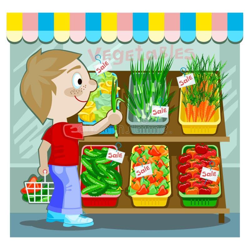 Young man buying produce stock illustration